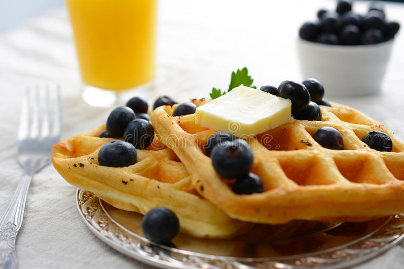 Waffles. A breakfast setting of delicious waffles in the morning stock photo
