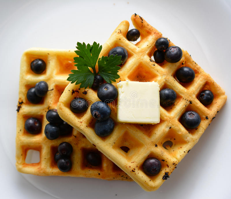 Waffles. A breakfast setting of delicious waffles in the morning stock photography
