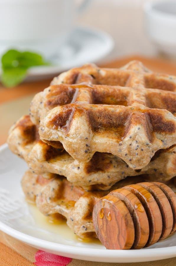 Waffles caseiros com xarope de bordo e close up da papoila, chá da hortelã dentro imagens de stock royalty free