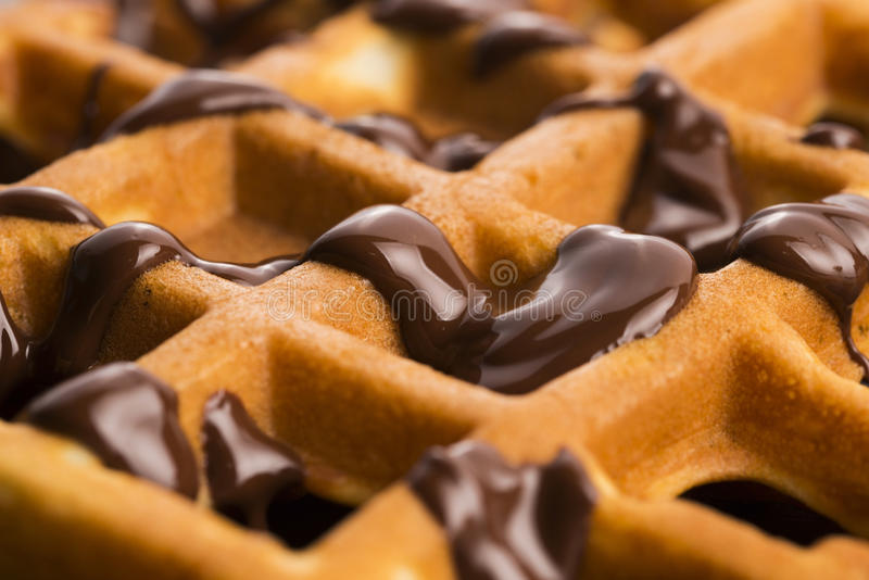 Waffles with chocolate stock photos