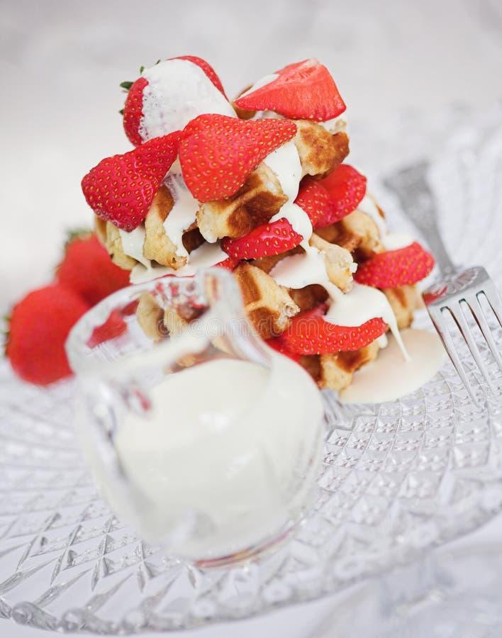 Waffles & cream royalty free stock photo