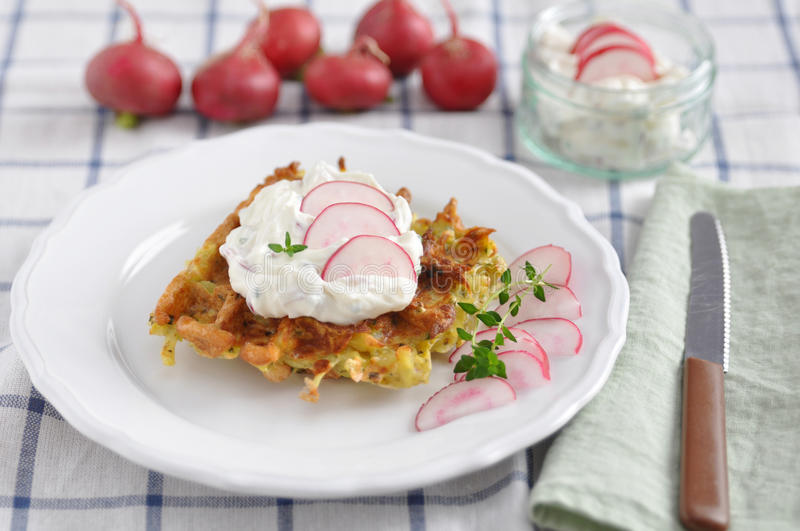 Waffles with cream cheese. And red radish stock photo