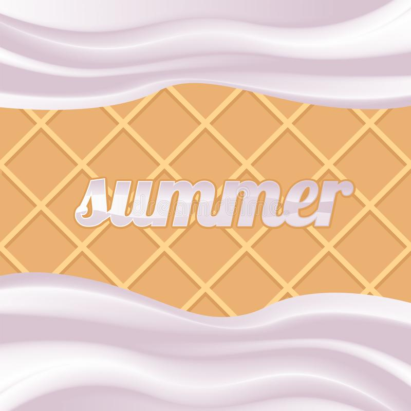 Waffles cream summer taste vector food white stock illustration