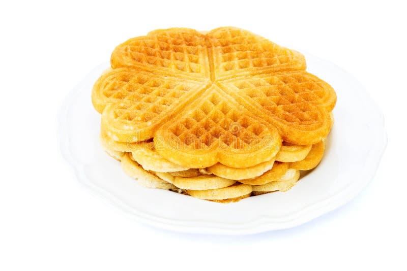 Waffles dados forma coração imagens de stock