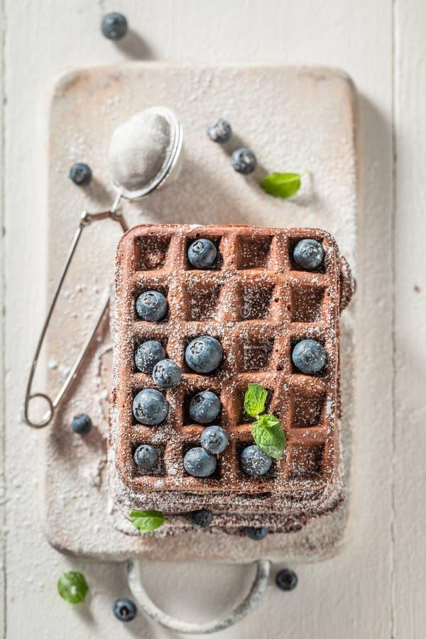 Waffles with dark chocolate and fresh blueberries stock photo