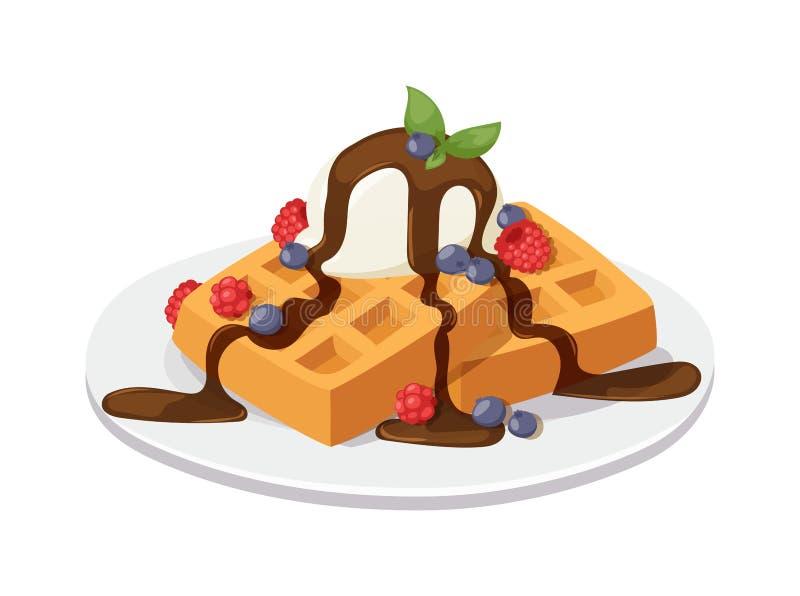 Waffles de Bélgica com o creme do chocolate, o gelado e as morangos isolados no vetor branco do fundo ilustração do vetor