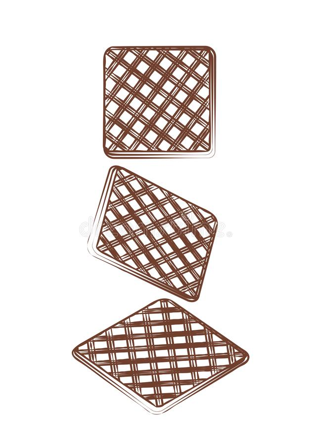Waffles doces de Brown Waffle saboroso da pastelaria dos confeitos friáveis da fatia da ilustração do contorno Sobremesa da si ilustração royalty free
