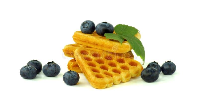 Waffles dourados com mirtilos Isolado no branco Close-up delicioso do café da manhã imagens de stock royalty free
