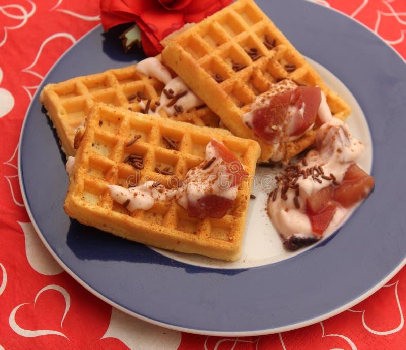 Waffles. A dressert of waffles with yogurt and fruits stock image