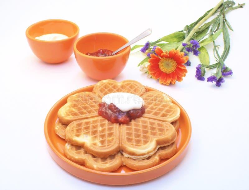 Waffles e atolamento fotografia de stock royalty free