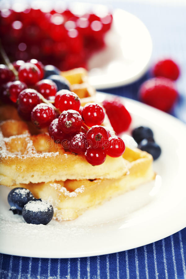 Waffles With Fresh Berries Royalty Free Stock Image