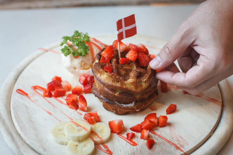 Waffles With Fruit and Maple Syrup stock photo