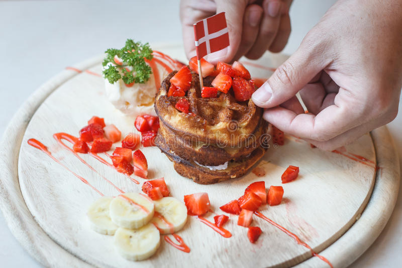 Waffles With Fruit and Maple Syrup stock photos