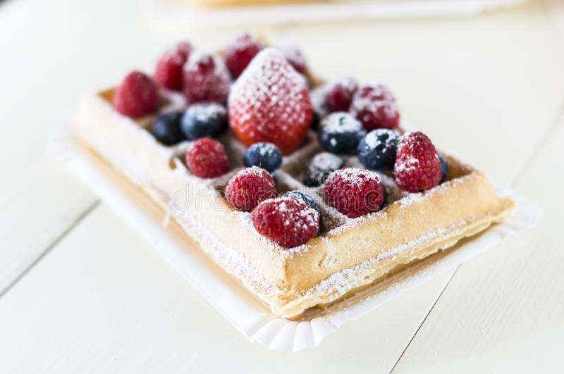 Waffles with fruit stock image