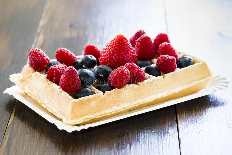 Waffles with fruit royalty free stock photos