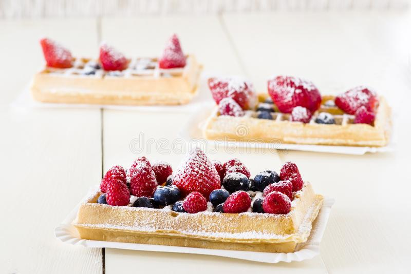 Waffles with fruit royalty free stock images