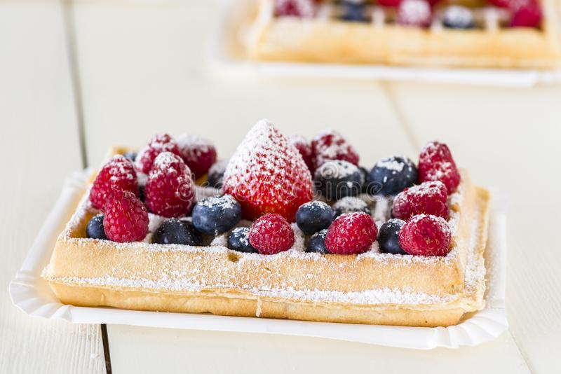 Waffles with fruit stock photography