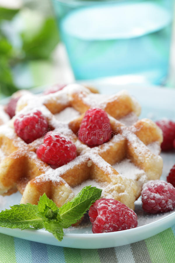 Waffles with fruits stock photography