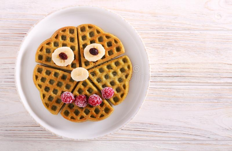 Waffles with fruits, decorated stock photos
