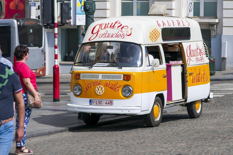 Waffles, Gaufres stall inside Volkswagen Type 2 on the street of Brussels, Belgium royalty free stock photo