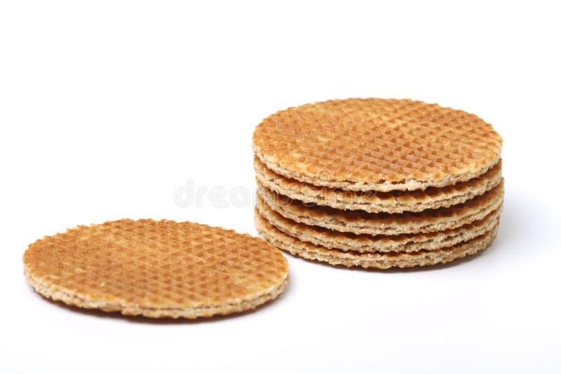 Waffles holandeses na pilha fotografia de stock