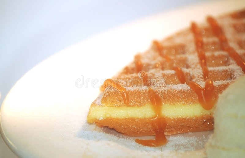 Waffles with honey. A cut of waffle with honey and sugar on the plate ready to be served stock photo