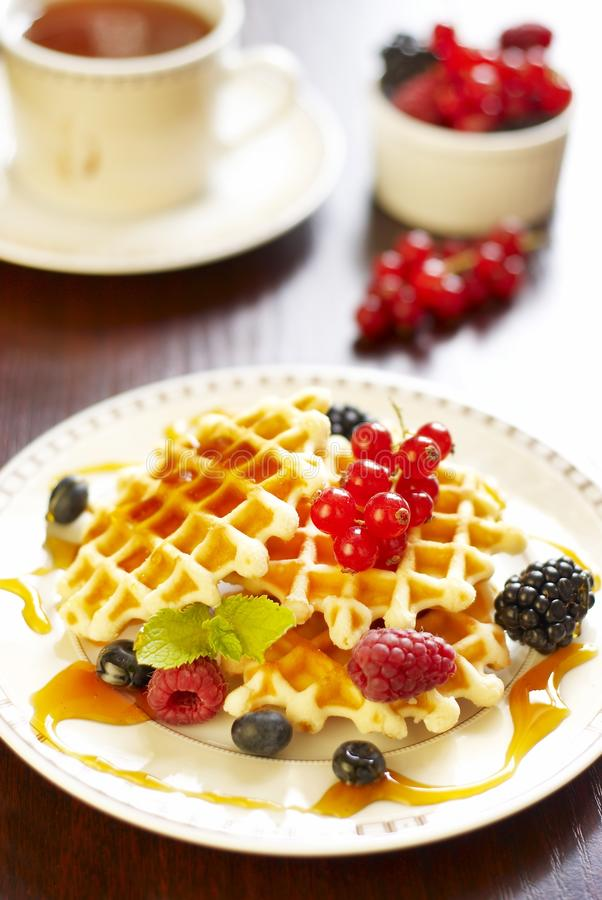 Waffles with honey and berries. Waffles with honey and fresh berries royalty free stock images