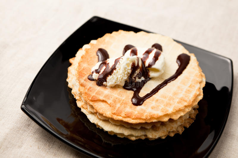 Download Waffles with ice-cream stock photo. Image of snack, sweet - 16446214