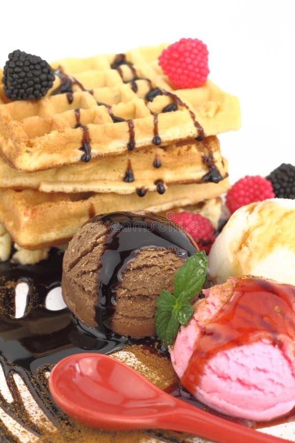 Waffles with ice cream royalty free stock photo
