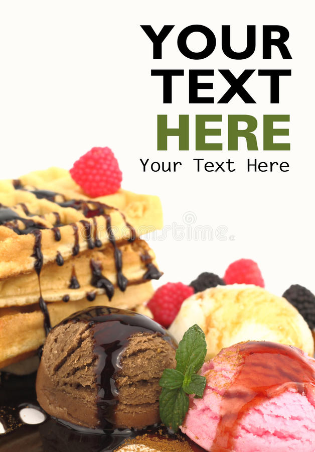 Download Waffles with ice cream stock image. Image of berries - 21022099