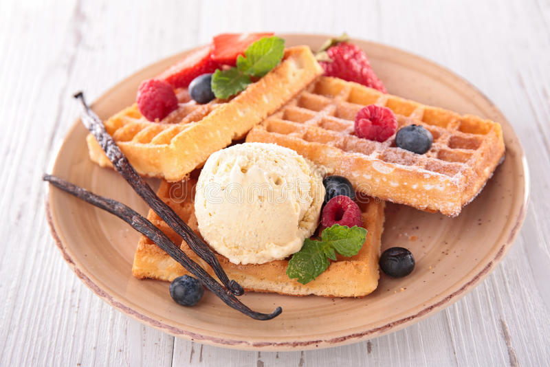 Waffles and ice cream royalty free stock photography