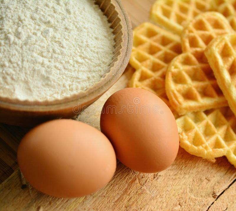 Waffles and ingredients stock photography