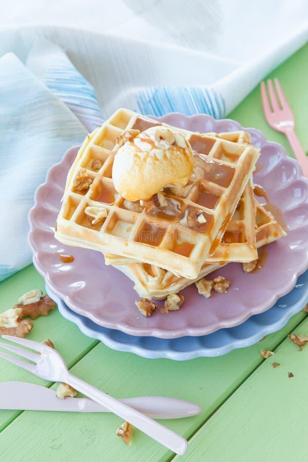 Waffles a la mode stock image