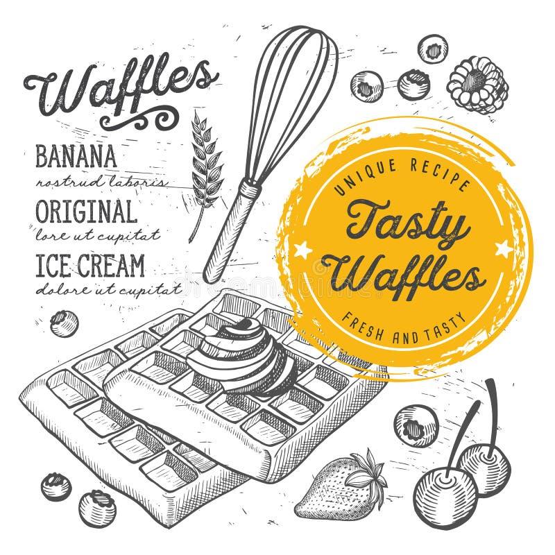 Waffles menu restaurant, food template. Waffles restaurant menu. Vector dessert food flyer for bar and cafe. Design template with vintage hand-drawn stock illustration