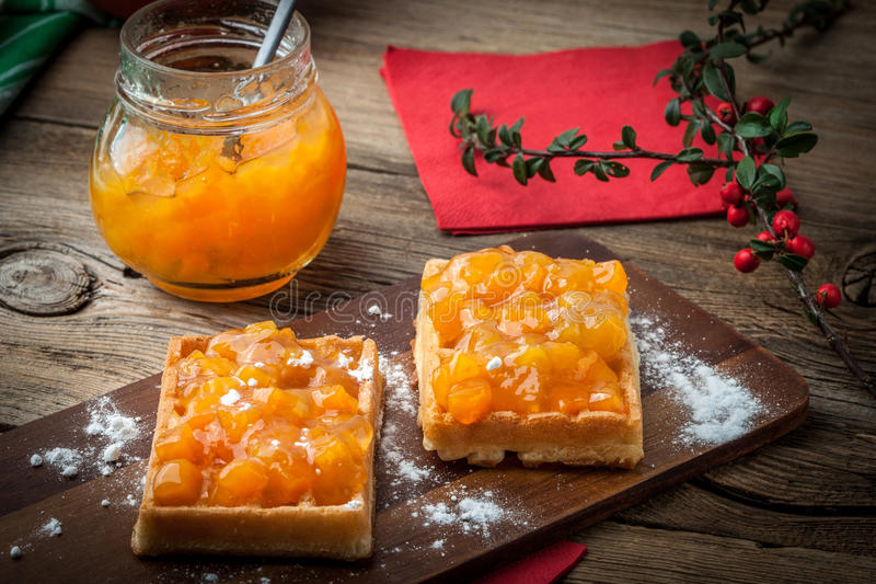 Download Waffles with peach jam. stock photo. Image of berries - 62834322