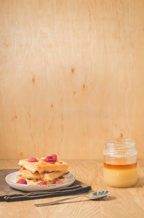 Waffles With raspberry in plate. Breakfast/Homemade waffles with raspberry, honey in plate on a old wooden background with copy. Space, dessert, berries, yummy royalty free stock photography