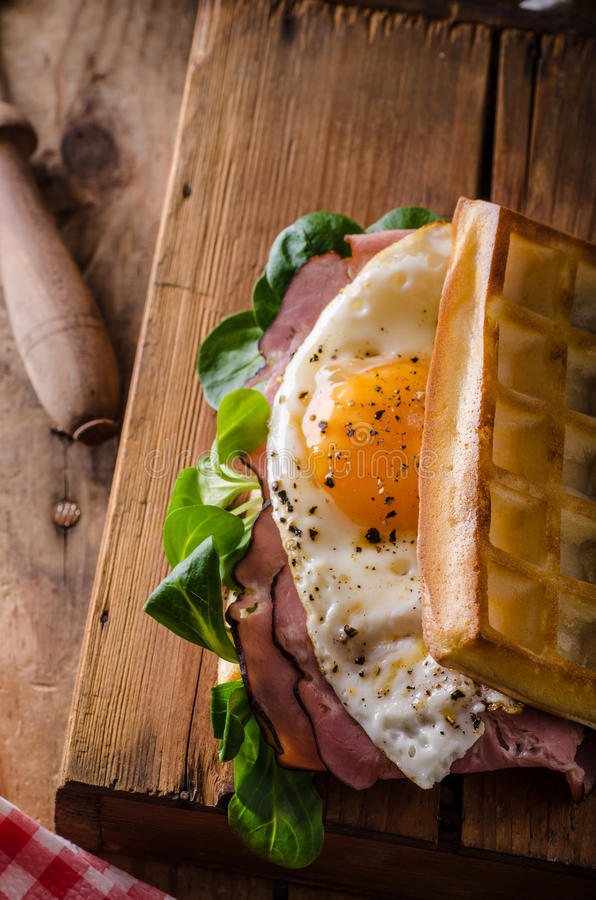 Waffles sandwich with eggs royalty free stock images
