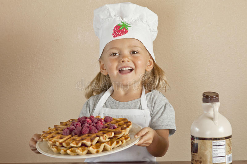 Waffles served stock photography