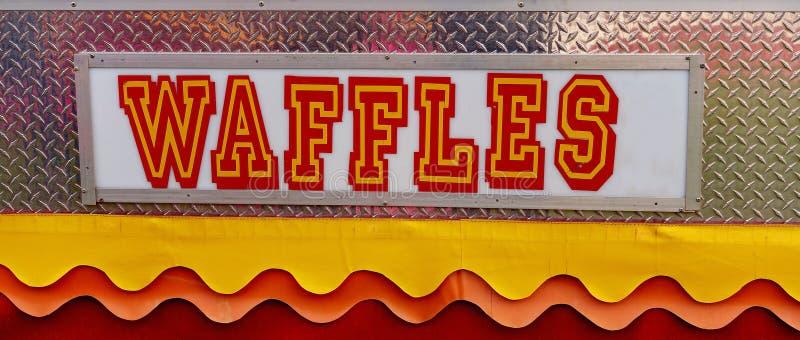 Waffles Sign At A Country Fair. Bright and colorful waffles sign at an Australian country show stock image