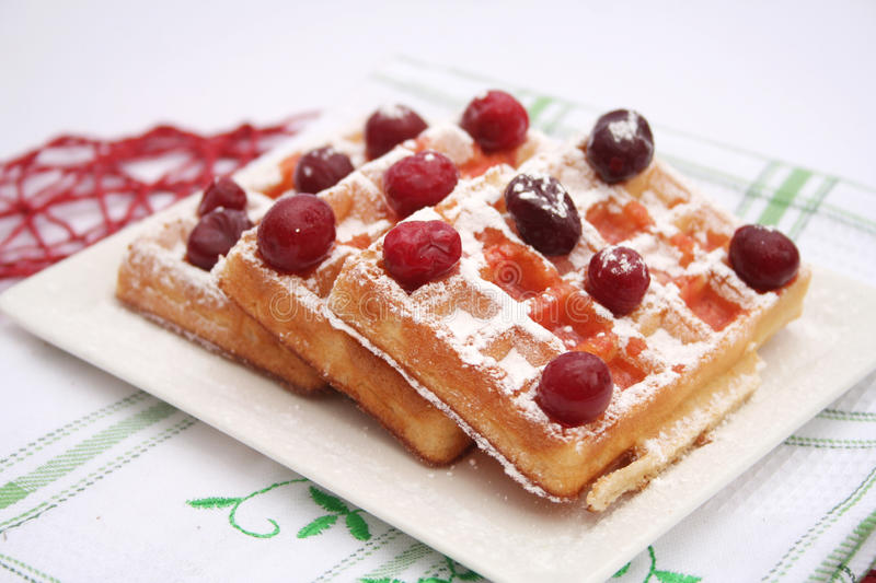 Waffles. Some fresh waffles with cranberries royalty free stock photo