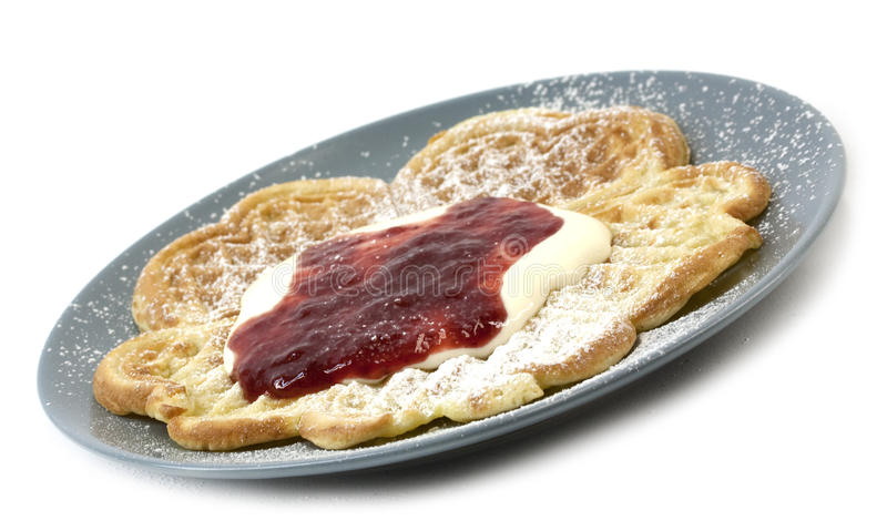 Download Waffles With Sourcream, Jam Stock Image - Image of dairy, shape: 22633283