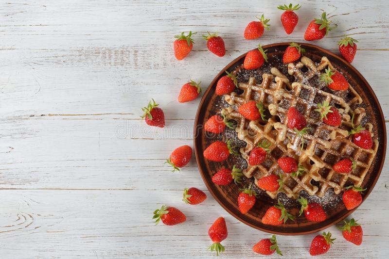 Waffles with strawberry stock image