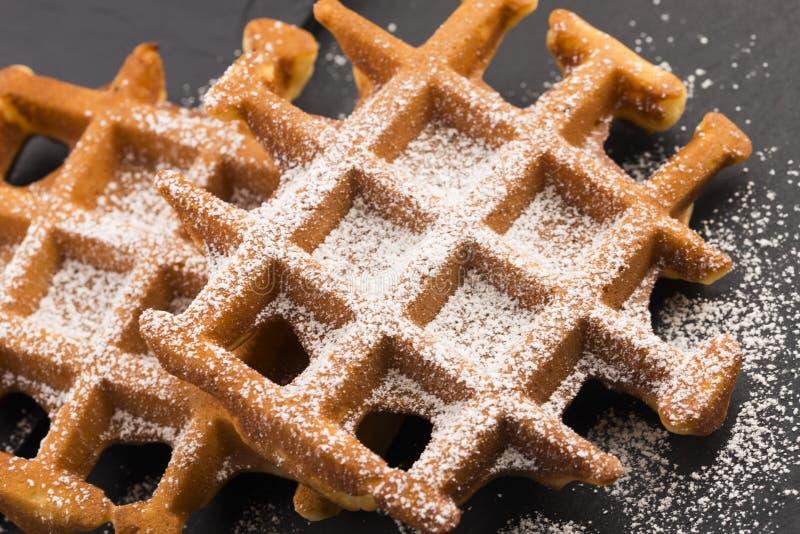 Waffles with sugar royalty free stock photo