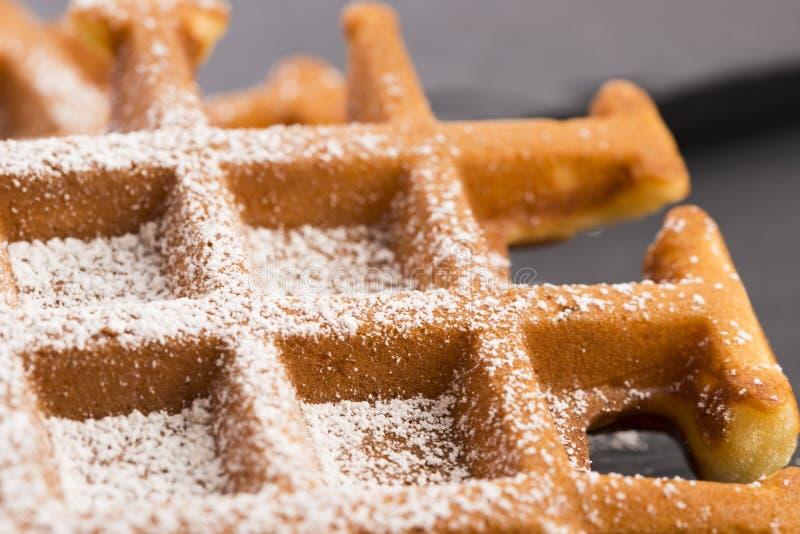 Waffles with sugar stock photo