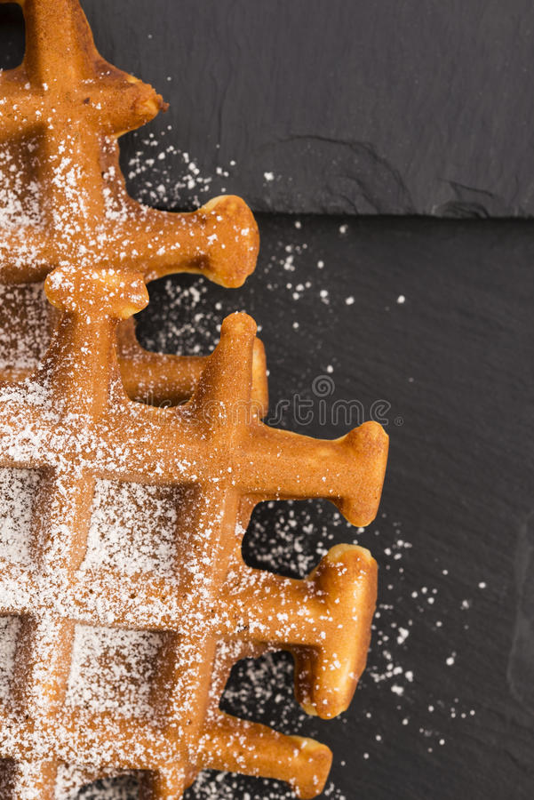 Waffles with sugar stock photos