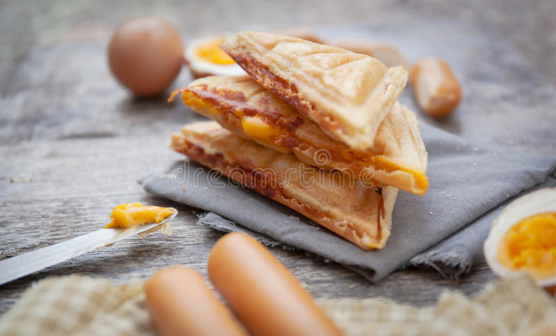 Waffles on table stock photo