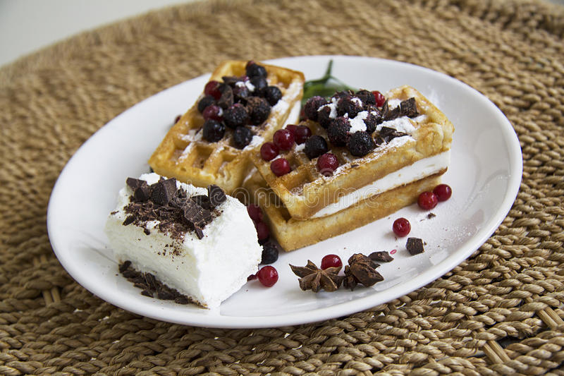 Waffles. Tasty waffles with berries on plate. French breakfast stock photos