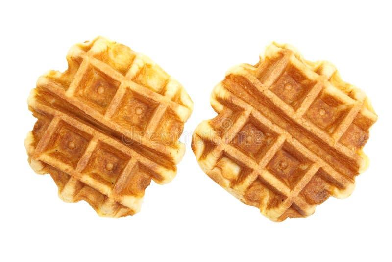 Waffles. Tasty fresh and unhealthy belgian sugar waffles royalty free stock photos