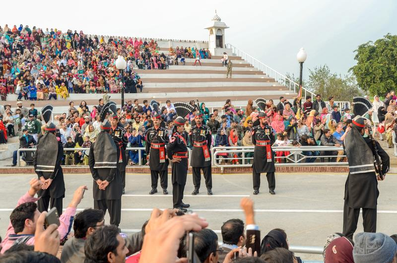 Wagah Pakistan India Border Ceremony, Lahore, Pakistan. Security Officials performing in Pakistan-India Border Closing Ceremony in Lahore, Punjab, Pakistan royalty free stock image