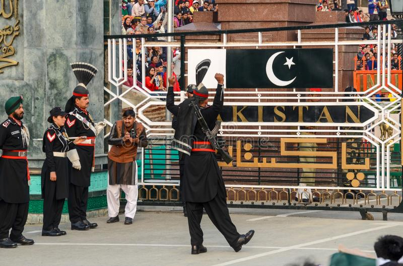 Wagah Pakistan India Border Ceremony, Lahore, Pakistan. Security Officials performing in Pakistan-India Border Closing Ceremony in Lahore, Punjab, Pakistan stock photography